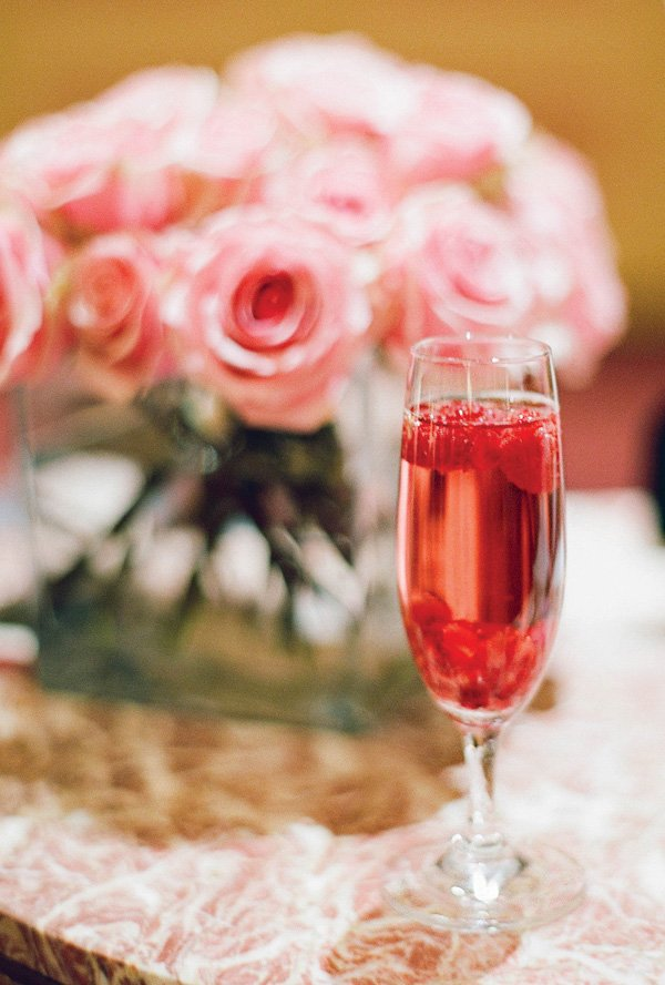 pink raspberry champagne shower cocktail