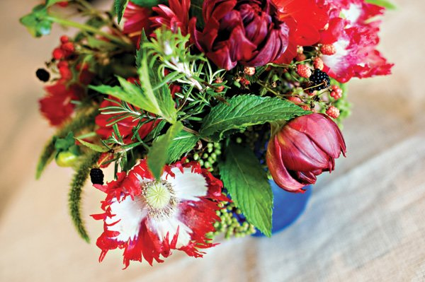 americana red white and blue wedding florals