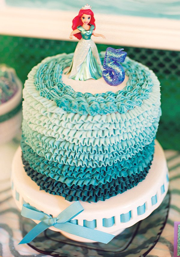 ariel topped ombre ruffled ocean birthday cake