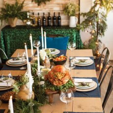 sparkling rustic holiday party tablescape