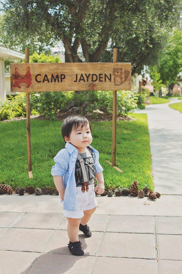 birthday camp wooden sign