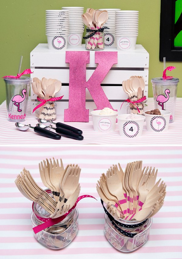 flamingo party ice cream topping