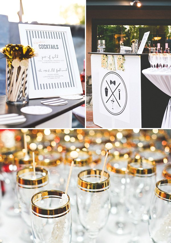 gold decorated birthday party bar