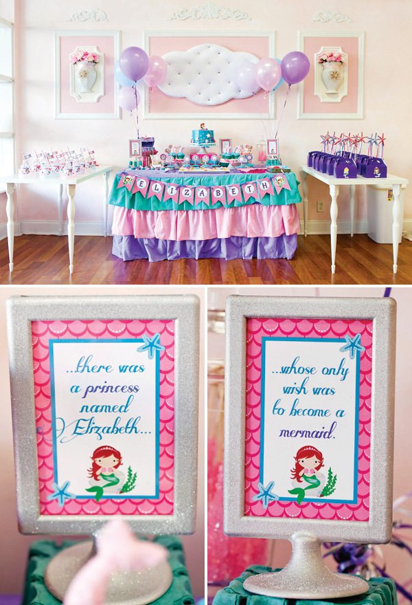 mermaid birthday party dessert table and signs