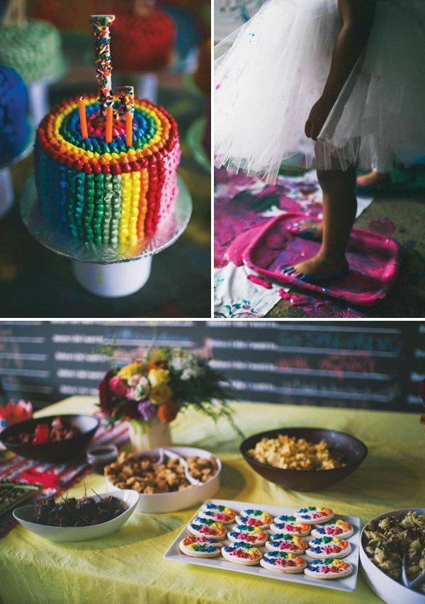 rainbow art birthday party desserts and activities