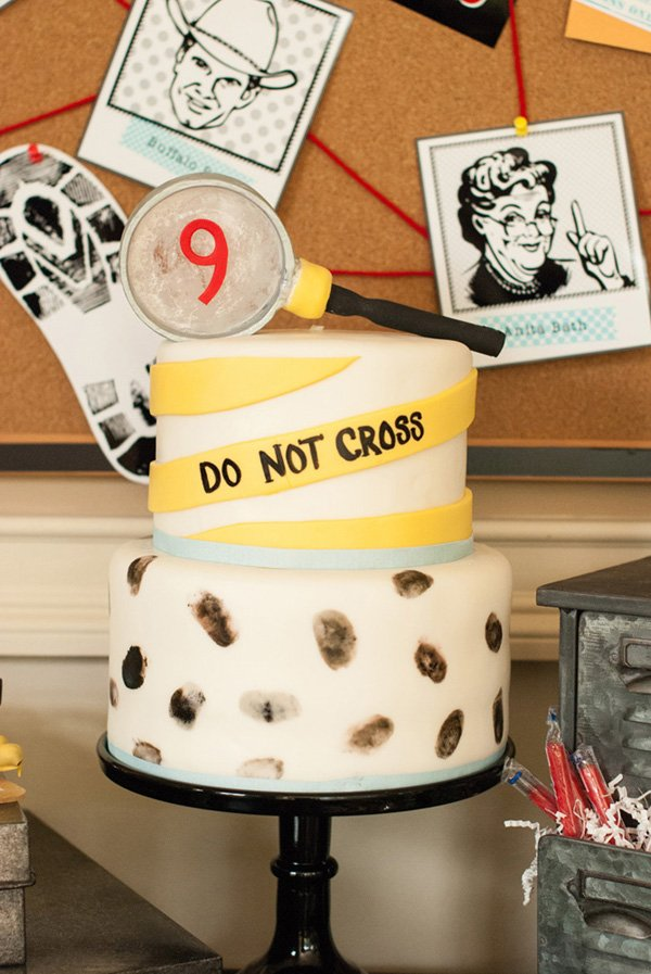 fingerprinted detective party cake