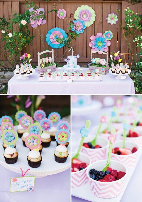 fairy garden birthday party dessert table