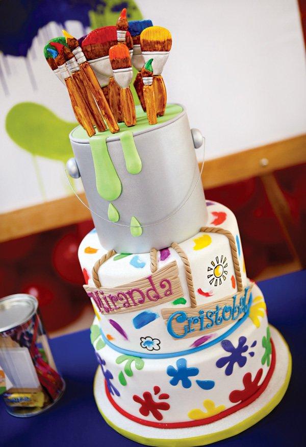 artsy paint can and rainbow splatter birthday cake