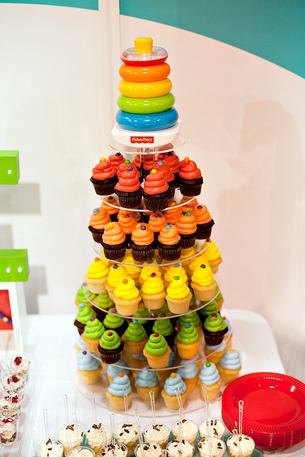 rainbow cupcakes tower