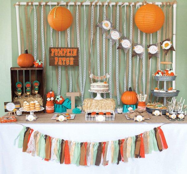fall pumpkin baby shower dessert table