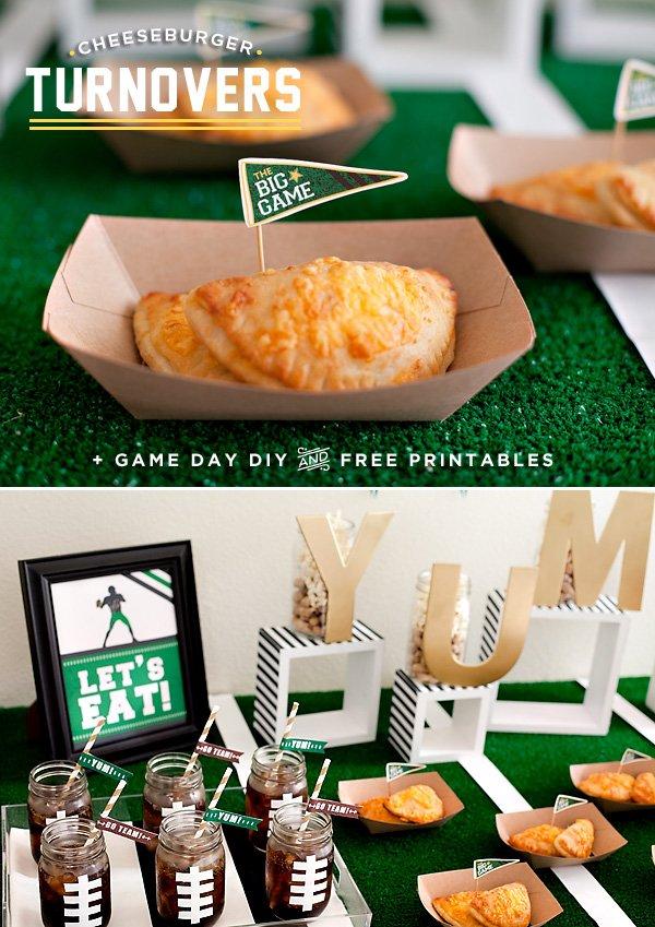 Football Party Printables + Cheeseburger Turnover Recipe