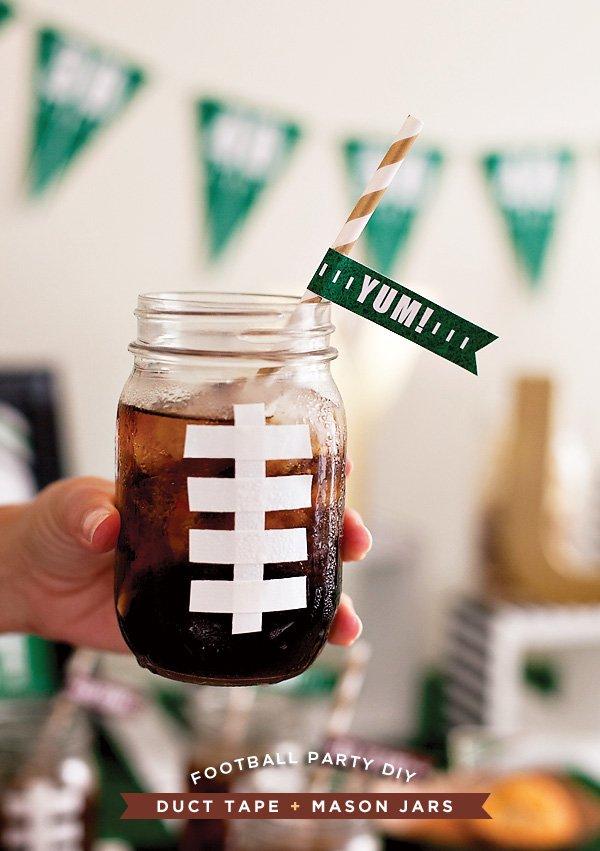 DIY Football Mason Jar Drinks