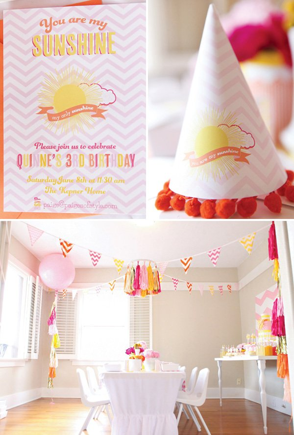 pink chevron you are my sunshine birthday party invitation and decor