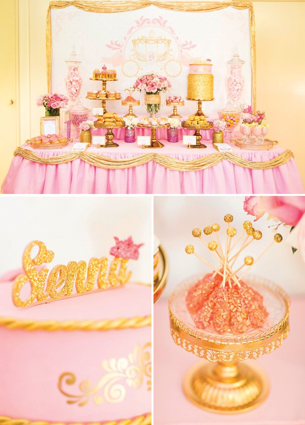 pink and gold princess birthday party dessert table