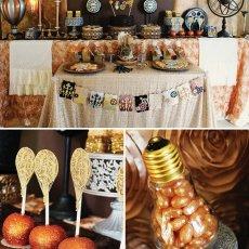 steampunk birthday party dessert table