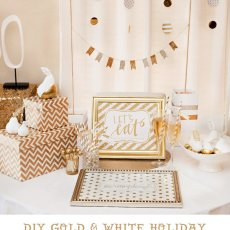 gold and white holiday party ideas + free printables