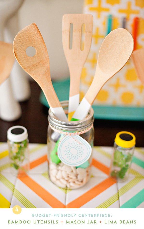 DIY Modern Kitchen Theme Centerpiece with Mason Jars & Wooden Untensils