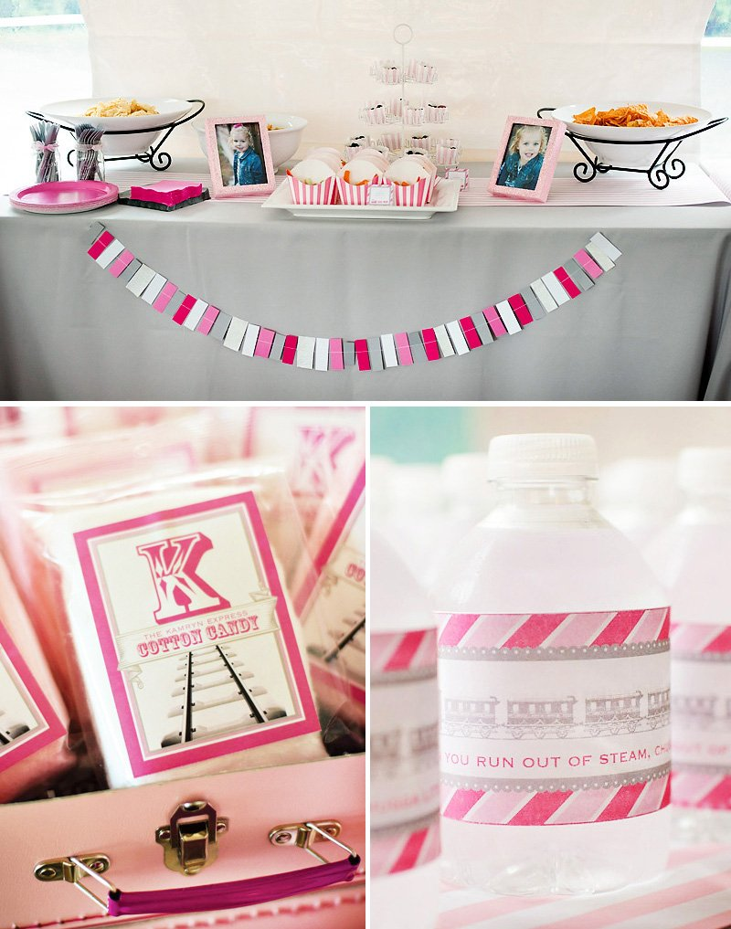 girlie train party decorations