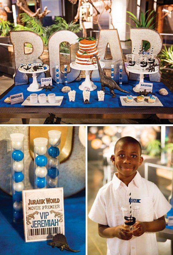dinosaur themed birthday party dessert table