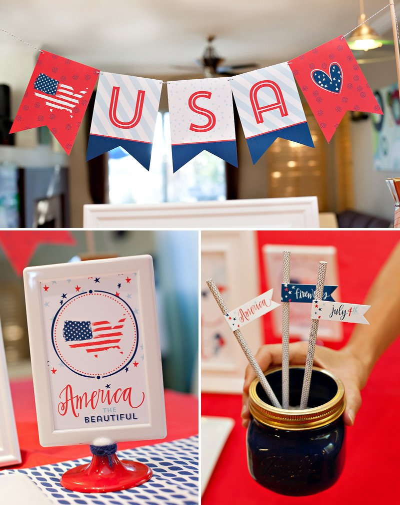 patriotic free printables - USA Banner and signs
