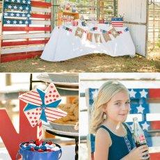vintage Americana dessert table and pinwheel cookies