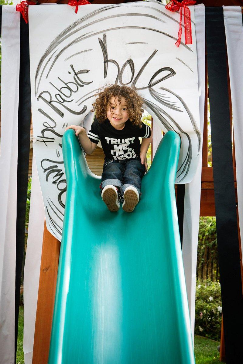 alice in wonderland down the rabbit hole slide