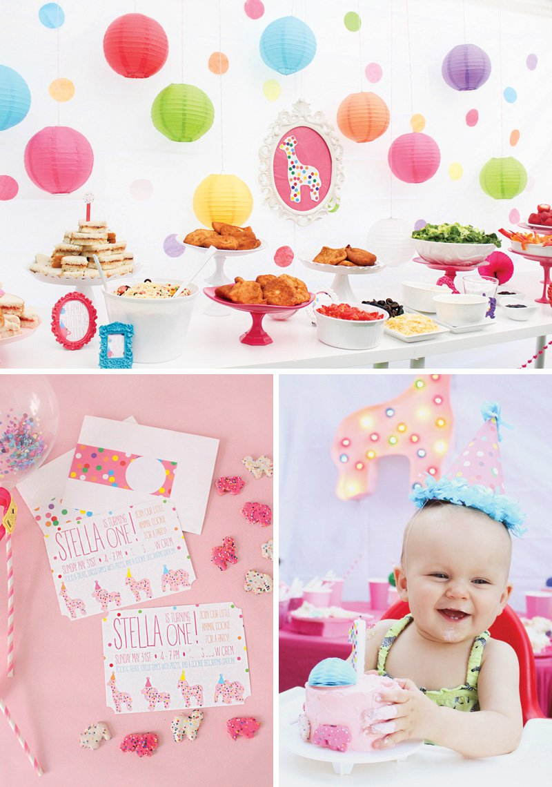 animal cookie themed first birthday party