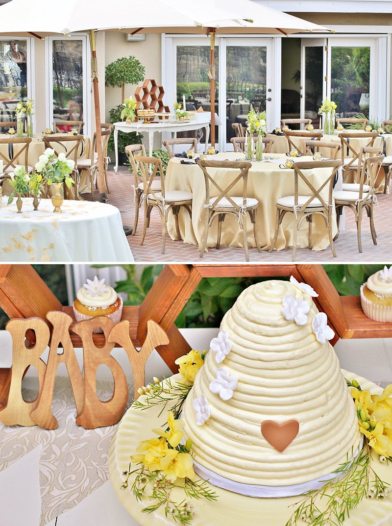 yellow rustic bee themed baby shower