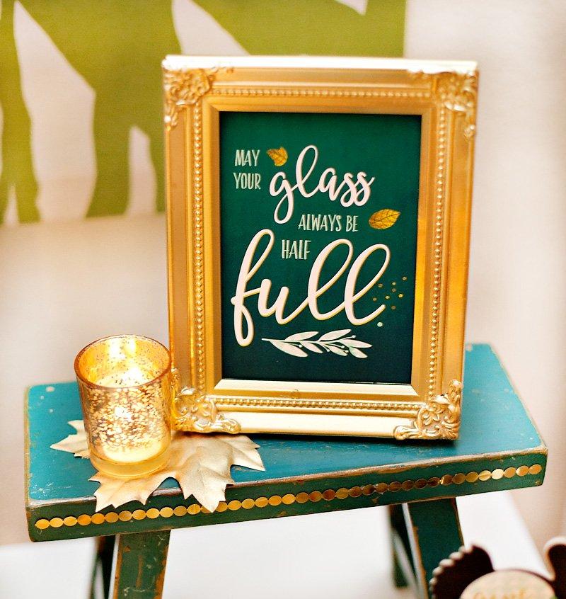 Free Wine Printable Quote - Glass Half Full