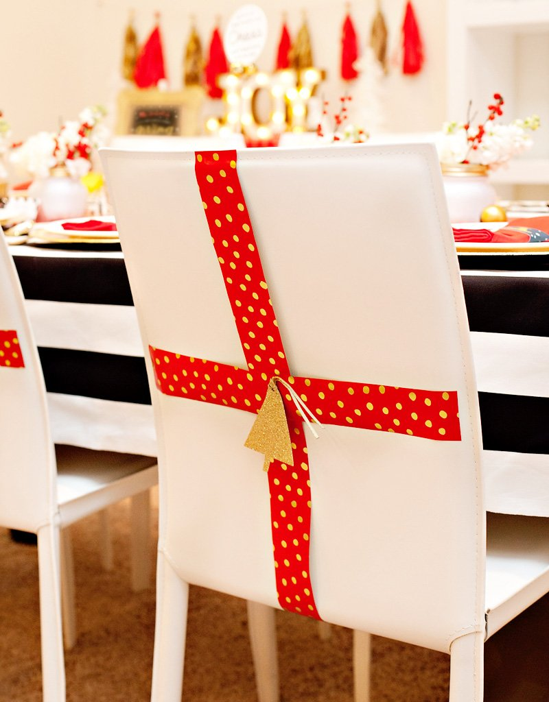 Holiday Party Chair Decorating Idea - Gift Inspired