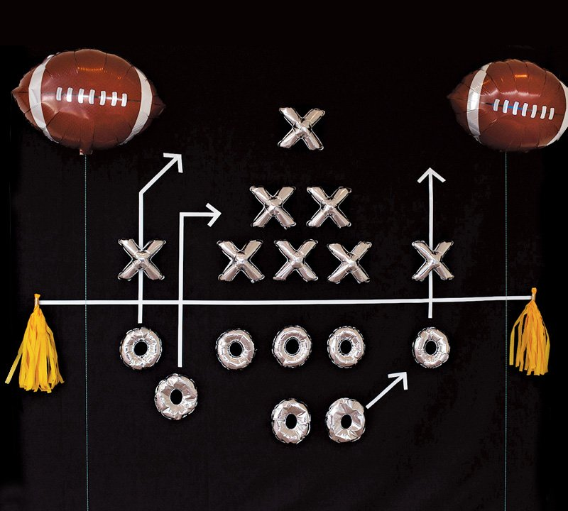 Football Party Backdrop made from mini mylar balloons