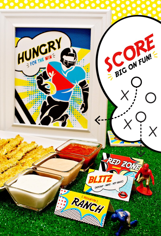 Free Printables - Football Pop Art Sign & Sauce Labels