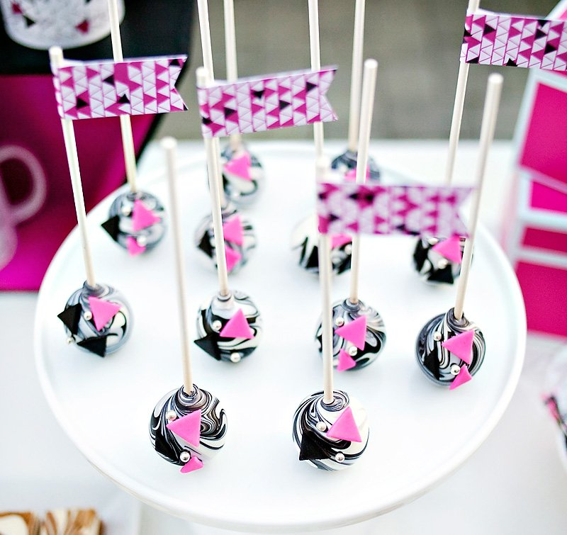 Geometric and Marbled Cake Pops Pink Black