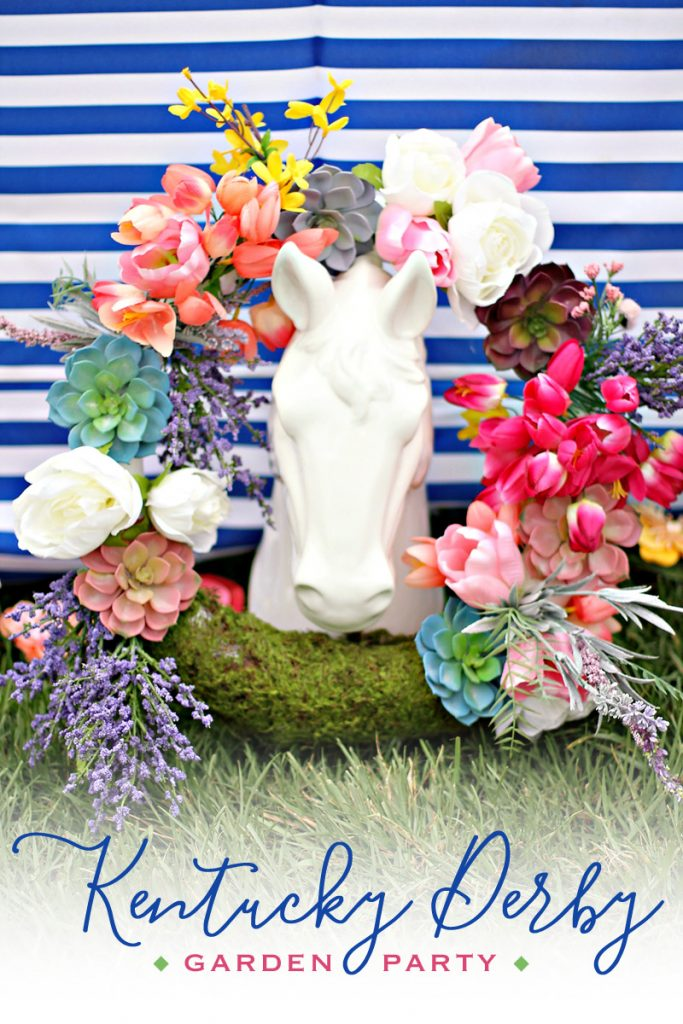 Kentucky Derby Horse Decoration with Flower Wreath