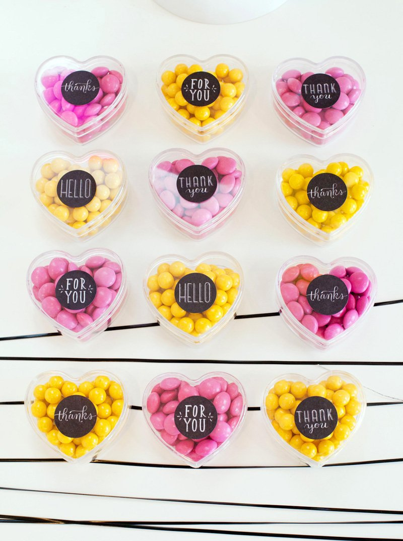 Pink and Yellow Heart Favors