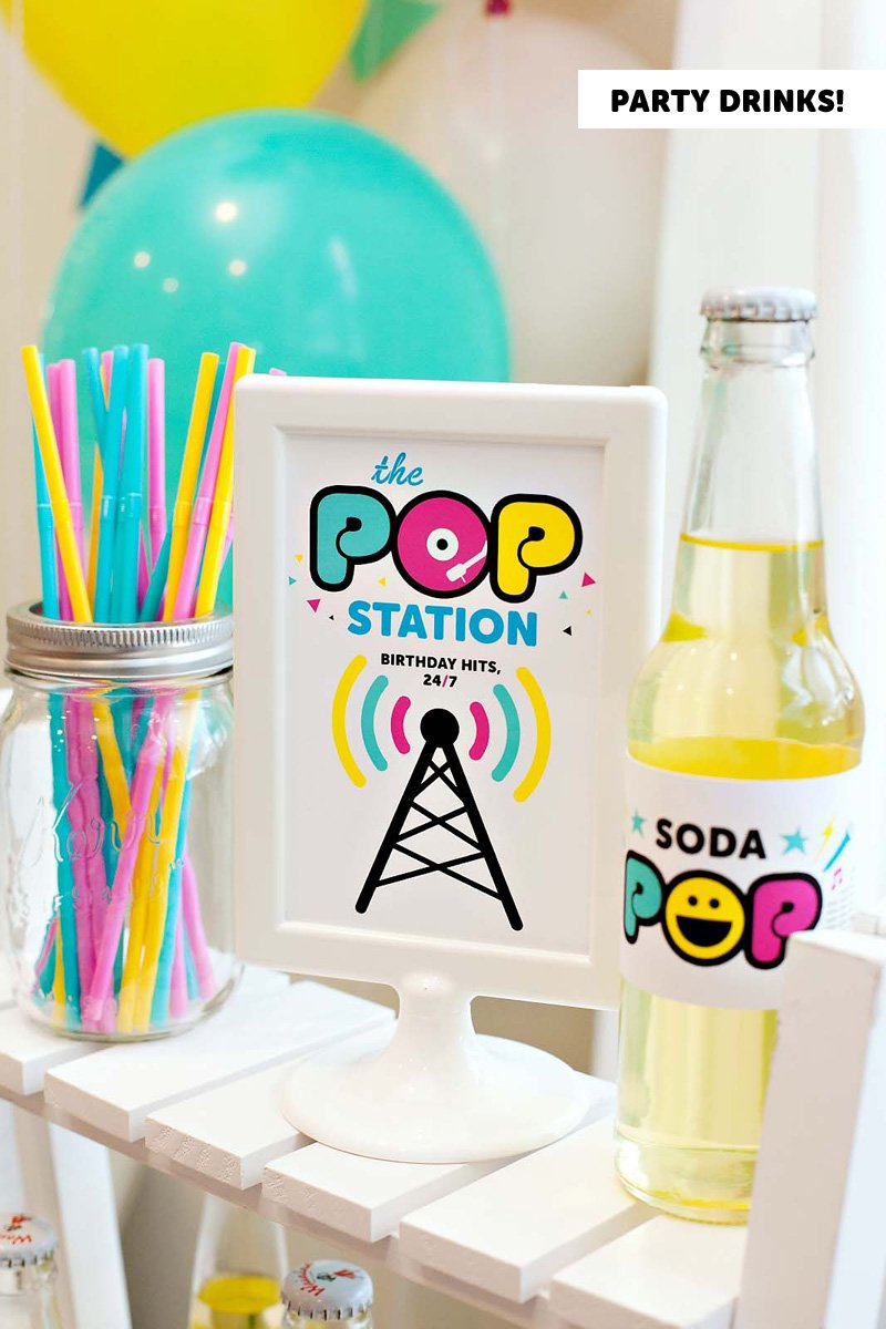 Pop Star Party Drink Labels