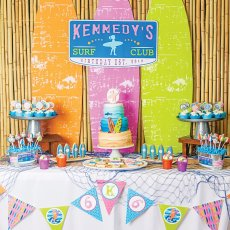 surfing themed birthday party dessert table