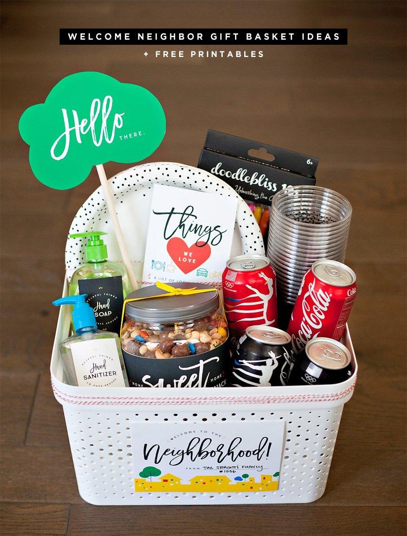 Welcome Neighbor Gift Basket with Free Printables