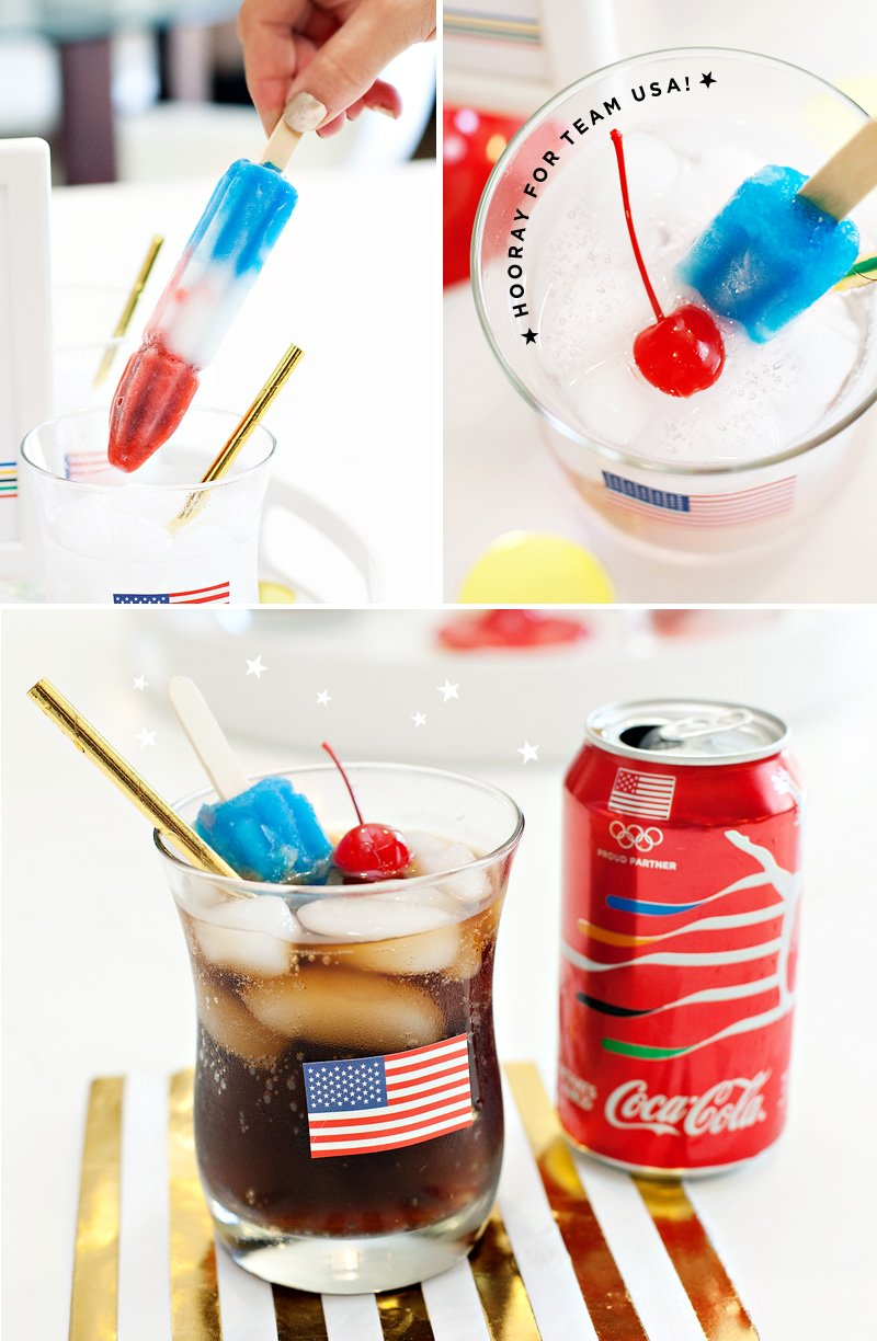 patriotic drinks with popsicle stirrers