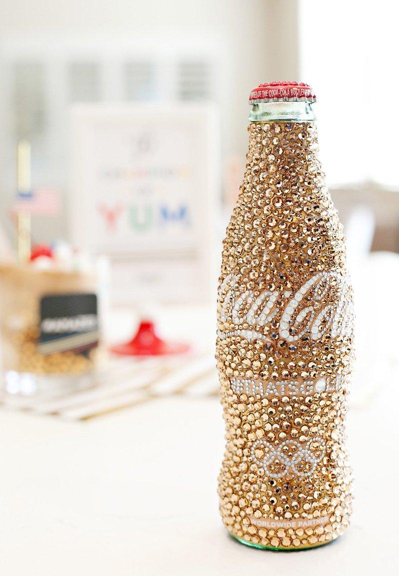 sparkly #thatsgold Coca-Cola bottle