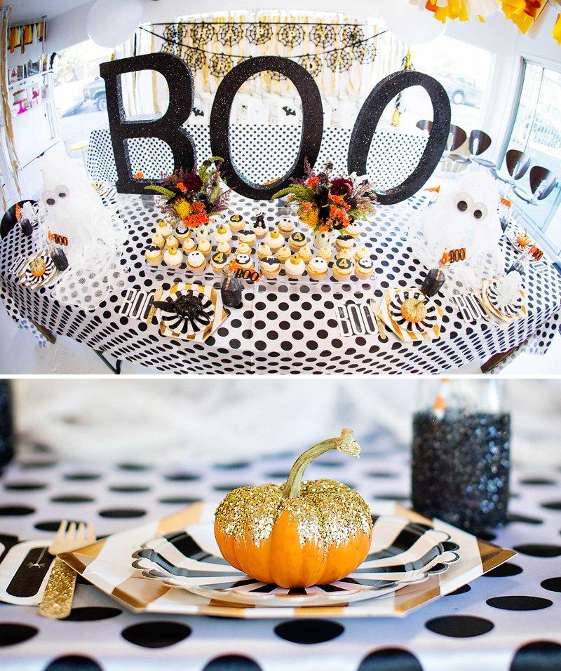 glittered pumpkin and halloween dessert table
