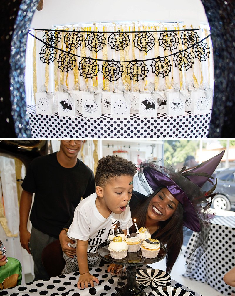Halloween Birthday Cupcakes and Banner