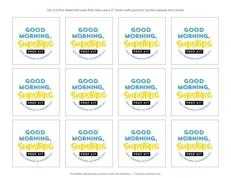 Good Morning Sunshine Favor Tags - Free Printable
