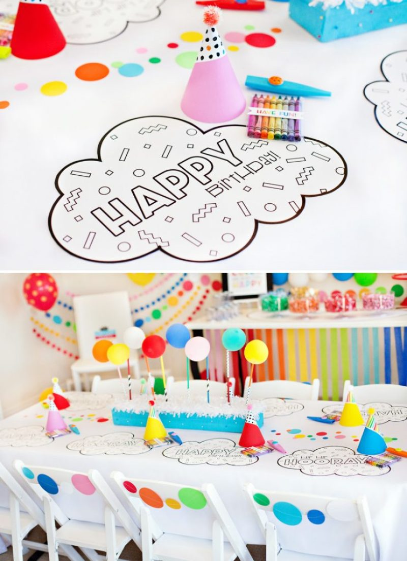 rainbow party kids table and coloring placemats