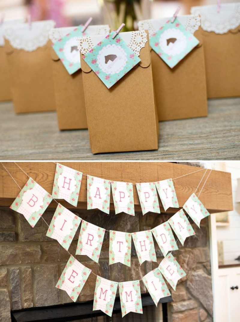 shabby chic pony party banner and printables