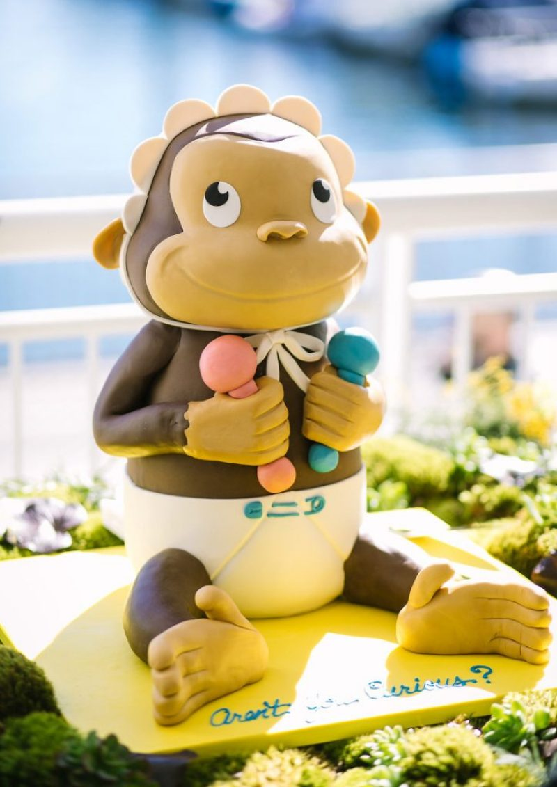 Curious George baby shower cake