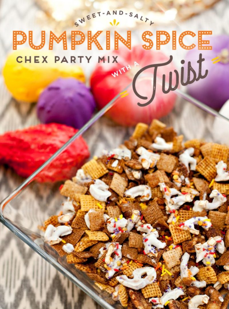 Pumpkin Spice Chex Party Mix with Sprinkles and Pretzels