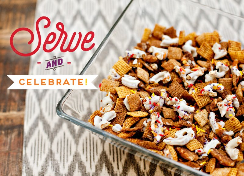 Bowl of Pumpkin Spice Chex Party Mix