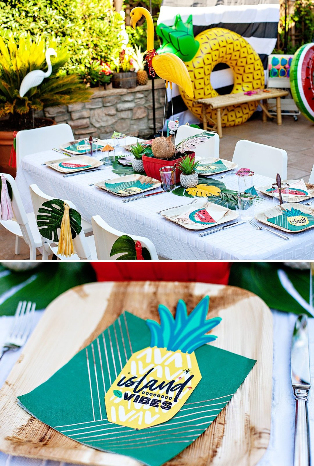 tropical party table and place settings