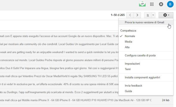 google gmail modifiche nuova versione